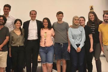 "Students from Hebrew University in Rome for the ""Buongiorno, Roma!"" program pose for a photo at The Lay Centre with Father Etienne Vetö, director of the Cardinal Bea Centre for Judaic Studies at the Pontifical Gregorian University."