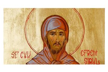"Image: Romanian icon of St Ephrem the Syrian, painted by an unnamed Romanian nun ""near Oradea"" in 2005. (Wikimedia Commons)"