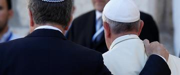 Photo courtesy  Paul Haring/CNS  -  May 26, 2014: Pope Francis walks with Argentine Rabbi Abraham Skorka, left, and Omar Abboud, a Muslim leader from Argentina, as he leaves after praying at the Western Wall in Jerusalem.